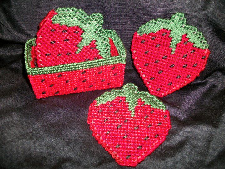 Plastic canvas strawberry coasters