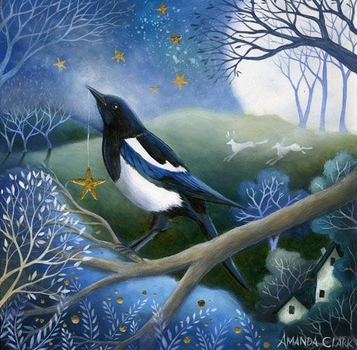 Acrylic on board - The Collector of Stars - Amanda Clark- art gallery, original paintings