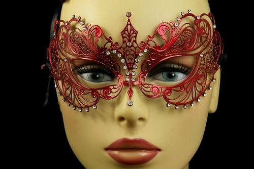 Red Metal Venetian Mask With Gems, $25 masquerade mask