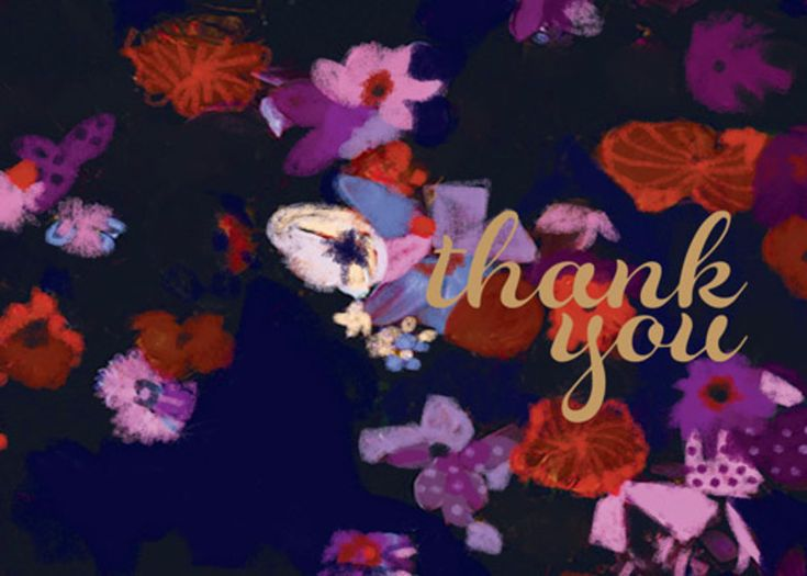 Purple Floral   Personalised Thank You Card