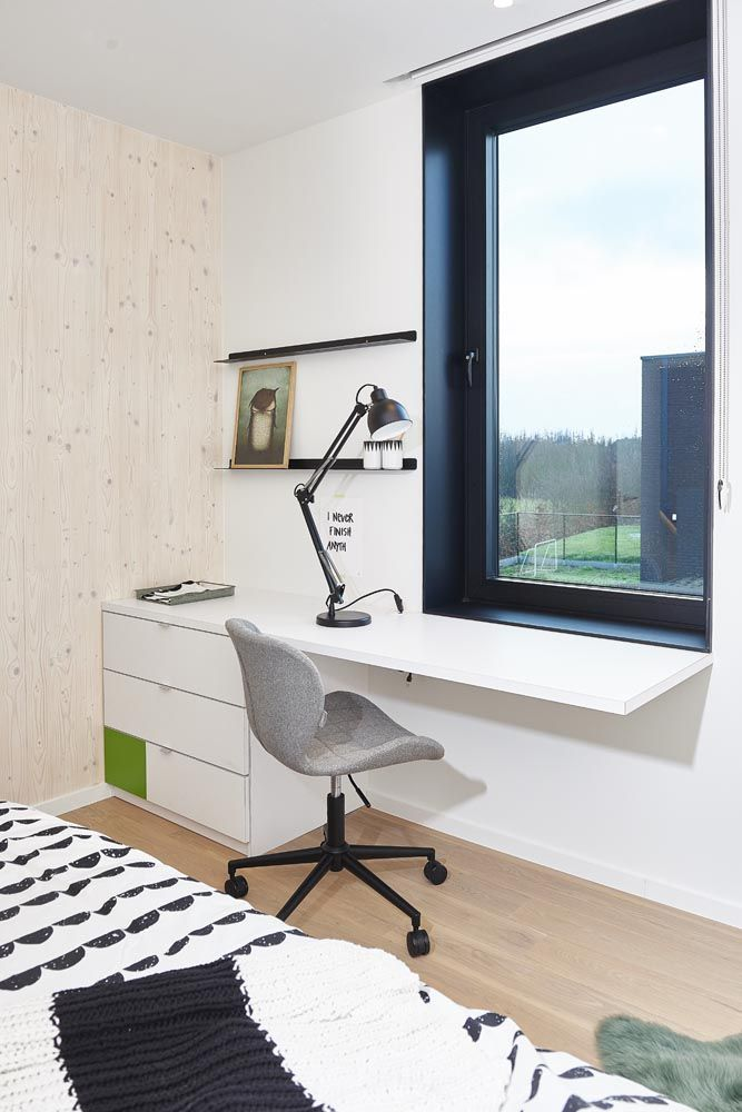 office chair Zuiver, bedding Ferm Living, desk lamp Bolia, shelves Bolia, plaid HK Living