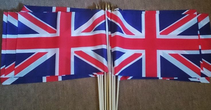 "5 Union Jack Great Britain Large Handwaving Flags 18"" X 12"" on 24"" wooden poles"