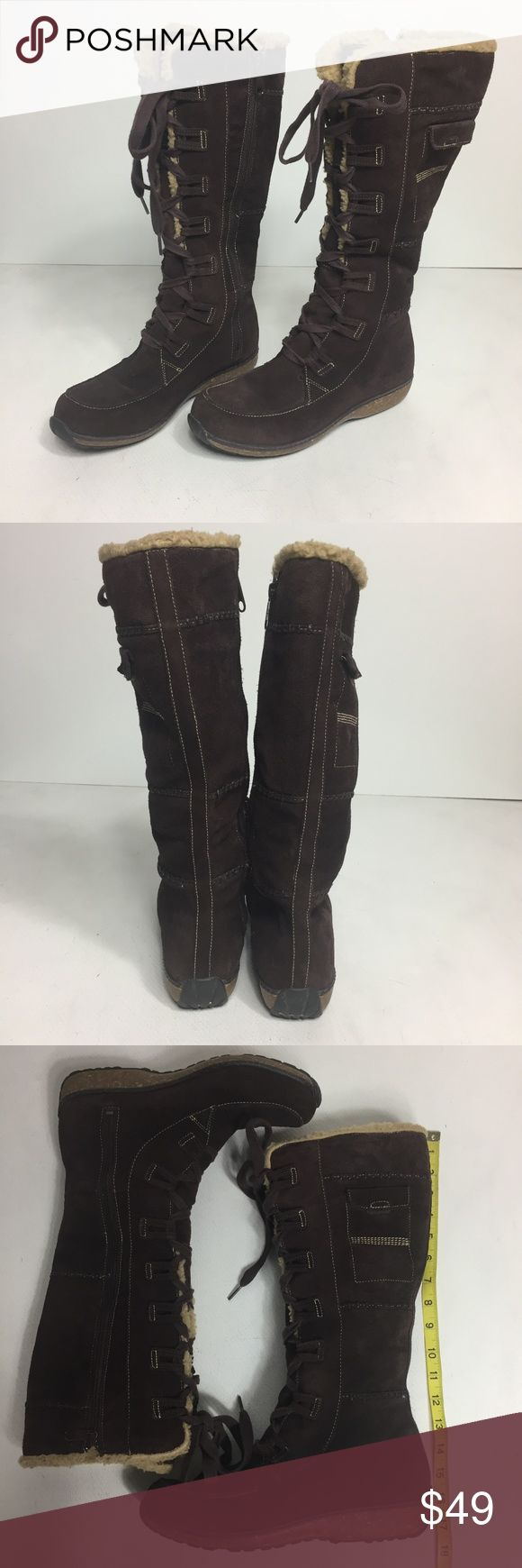 Timberland Earthkeepers Boots Tall Suede Knee High Timberland Earthkeepers Boots Womens 9.5 Tall Suede   Lace Up Knee High Fleece Lined Brown  in gently worn condition.  a7215kt10 Timberland Shoes Ankle Boots & Booties