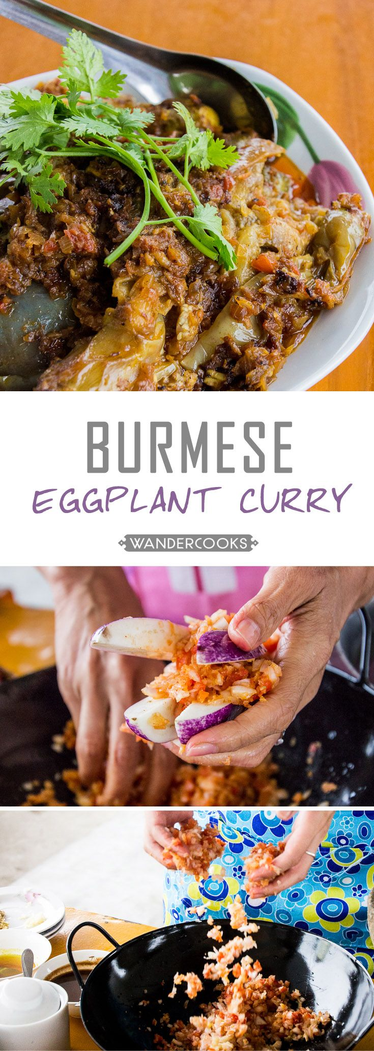 Burmese Eggplant Curry - This brown dish is sure to become a new family favourite. Vegetarian. | wandercooks.com