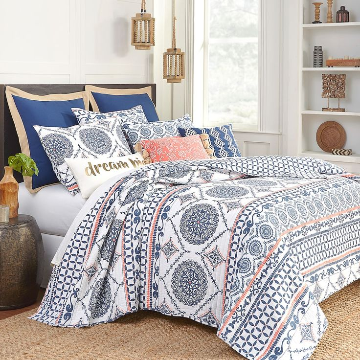Bay Street Quilt, Blue Luxury bedding sets, Cheap bed