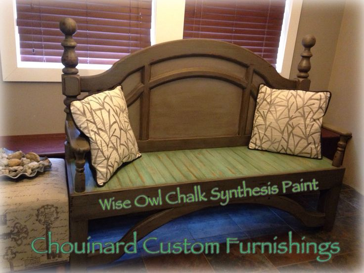 upcycled headboard bench painted in wise owl chalk synthesis paint wise owl chalk synthesis paint pinterest headboard benches headboards and benches bench painted chalk paint