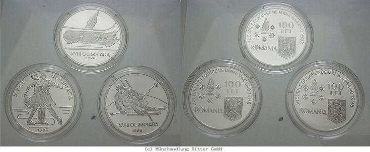 RITTER Rumänien, 3x 100 Lei 1998, Olympische Spiele Nagano 1998, PP #coins #numismatics