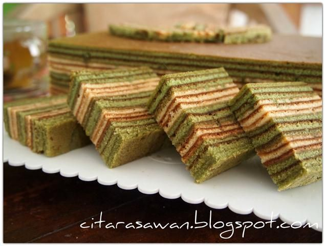 Kek Lapis Teh Hijau / Greentea Layer Cake - Recipes Today!