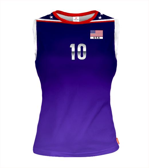 USA Sleeveless Volleyball Jersey for Women With Custom Name and Number
