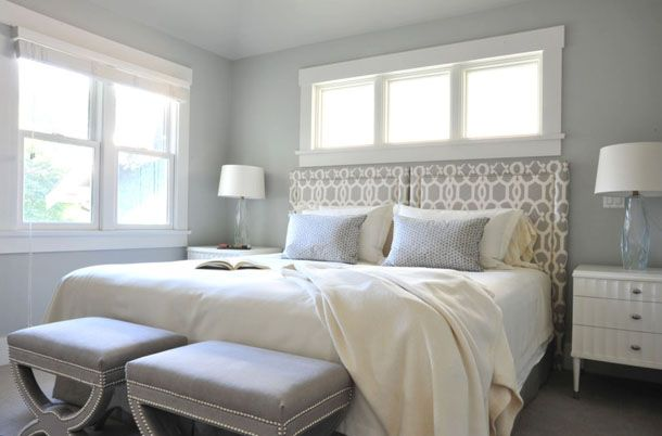 blue-gray bedroom, white trim, clerestory windows above bed, fabric headboard, blue and white bedroom (Sherwin Williams, Upward)
