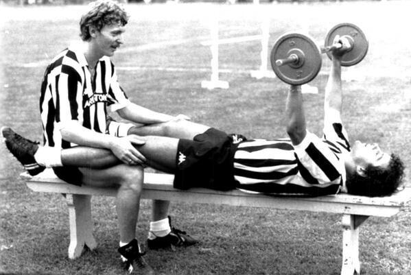 Zbigniew Boniek (left, Juventus FC, 1982–1985, 81 apps, 14 goals) and Michel Platini (right, Juventus FC) lifting at Villar Perosa training ground, 1983.