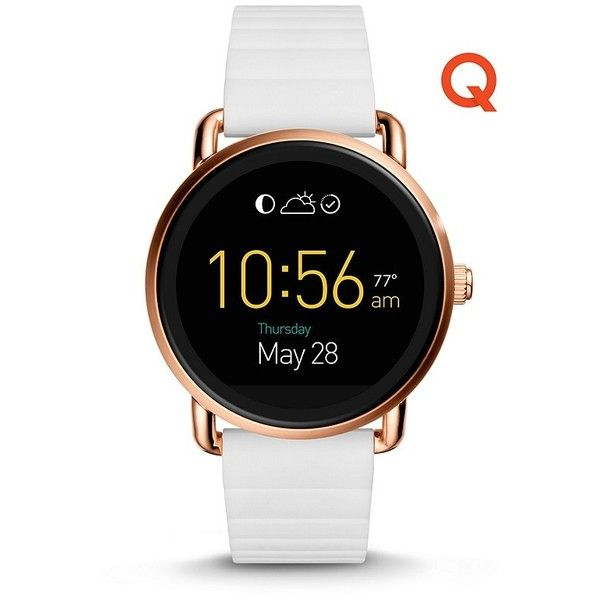 Fossil Q Wander Touchscreen White Silicone Smartwatch Ftw2114 ($295) ❤ liked on Polyvore featuring jewelry, watches, white jewelry, white dial watches, silicon watches, silicone strap watches and silicone watches