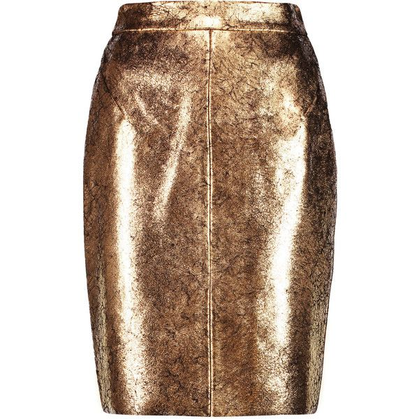 Raoul Metallic cracked-leather pencil skirt found on Polyvore featuring skirts, gold, raoul, pencil skirt, structured skirt, metallic pencil skirt and knee length skirts