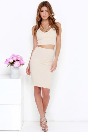Beige Two Piece Dress - Bodycon Dress - Nude Dress - $62.00