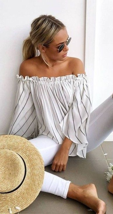#muraboutique #label #outfitideas |  Stripe Off The Shoulder Top + White Denim