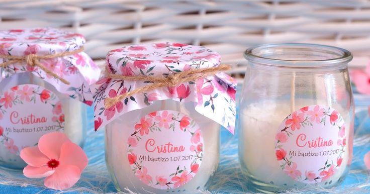 Velas aromáticas para detalles de bautizo. Velas personalizadas para bautizos. Detalles hechos a mano. El Jabón Casero.