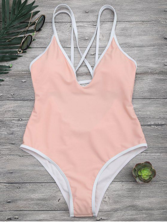 Contrast Piping Strappy High Cut Swimsuit - ORANGEPINK S