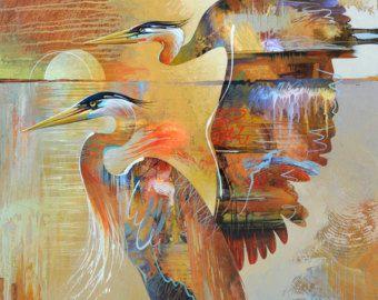 LAST LIGHT - Fine Art Prints op geweven papier of Canvas Dit is een prachtige afdruk die aan elke kamer toevoegen zou of u een hedendaagse thema of een moderne tropische look maakt. De grote zilverreiger is een majestueuze vogel te beginnen en als geschilderd in deze semi-abstracte stijl de illustratie komt tot leven met kleur, beweging en expressie.  Hand ondertekend door de kunstenaar - Tim Parker  ::: ZES VERSCHILLENDE MATEN:::  Afbeeldingsgrootte: 9,5 x 12,5 op Fine Art papier…