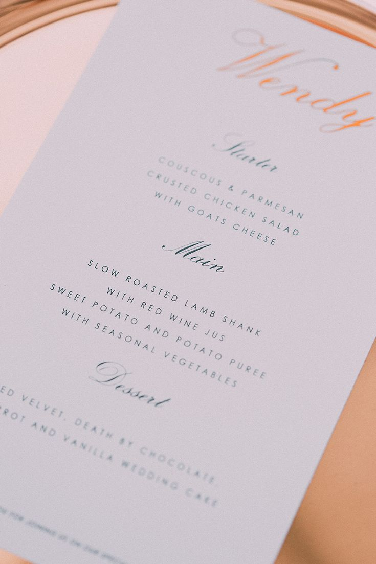 Beautiful, simplistic, modern wedding stationery with  a clean design. Rose gold is still super trendy and always looks elegant.