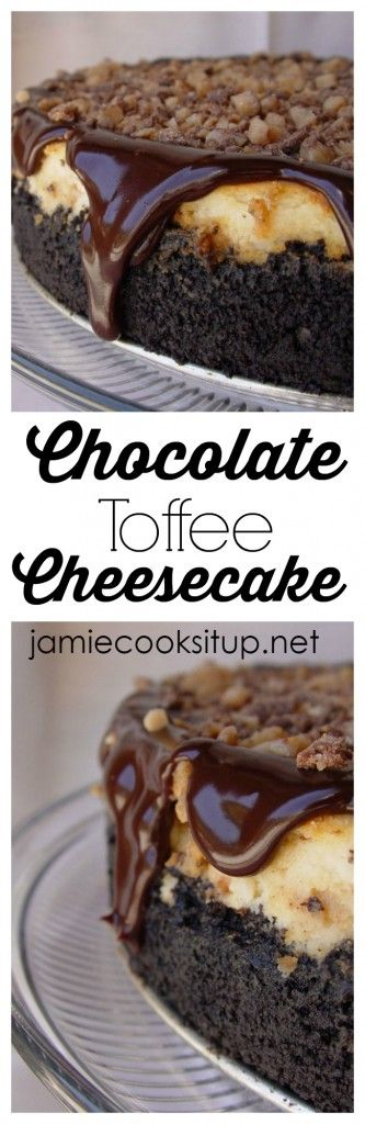 Chocolate Toffee Cheesecake from Jamie Cooks It Up! This is my daughter Anna's very favorite. She asks for it for her birthday every year.