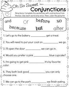 1st Grade Conjunctions Worksheet for February. - Planning Playtime