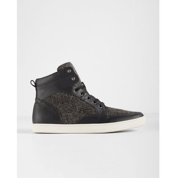 Express Textured High Top Sneakers ($88) ❤ liked on Polyvore featuring men's fashion, men's shoes, men's sneakers, black, mens black hi top sneakers, mens black high top shoes, express mens shoes, mens black sneakers and mens black high top sneakers