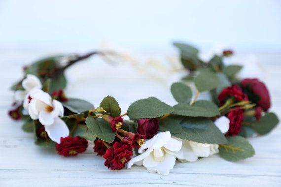 Fall burgundy flower crown, Flower headband, headband, wedding flower crown, bridal flower crown, bohemian flower crown, floral crown