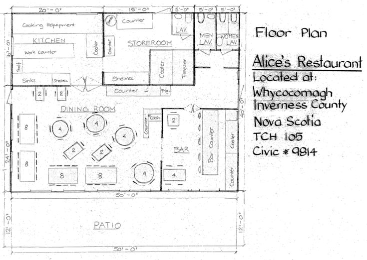 Small restaurant square floor plans cape breton estates for Restaurant floor plan