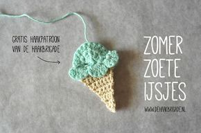 De zomervakantie komt er aan! De Haakbrigade viert de zomer met een gratis patroon voor een gehaakt ijsje, compleet met fotostappenplan.  Crochet an ice cream. Ideal for the summer. Fun as application or as decoration.
