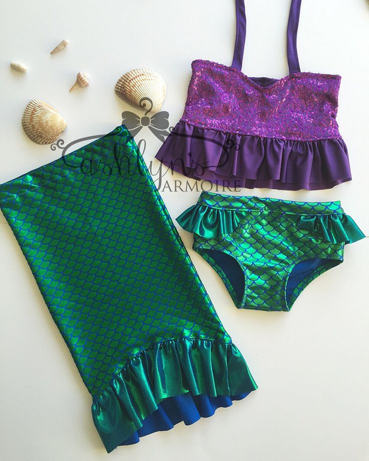 Ariel little mermaid inspired bikini swimsuit and tail skirt toddler girls by Ashlyn's Armoire