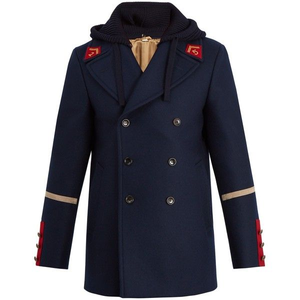 Gucci Caban detachable-hood wool coat ($2,880) ❤ liked on Polyvore featuring men's fashion, men's clothing, men's outerwear, men's coats, mens wool coats, mens wool outerwear, mens navy coat, mens slim fit coat and mens fur collar coat
