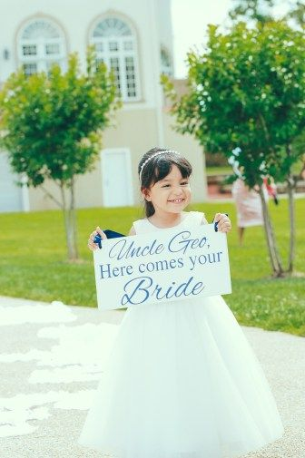 Wedding sign idea! Personalized with the groom's name. Here she comes...Uncle Geo!