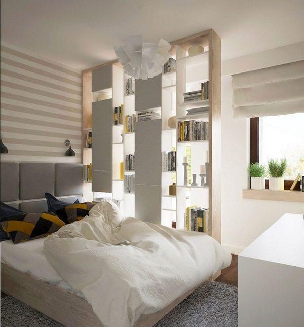 dekoračné nápady spálne police na stene úložný priestor pruhy horizontálne stenové