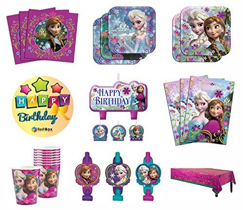 BashBox Mega Disney Frozen Birthday Party Supplies Pack Including Plates, Cups…