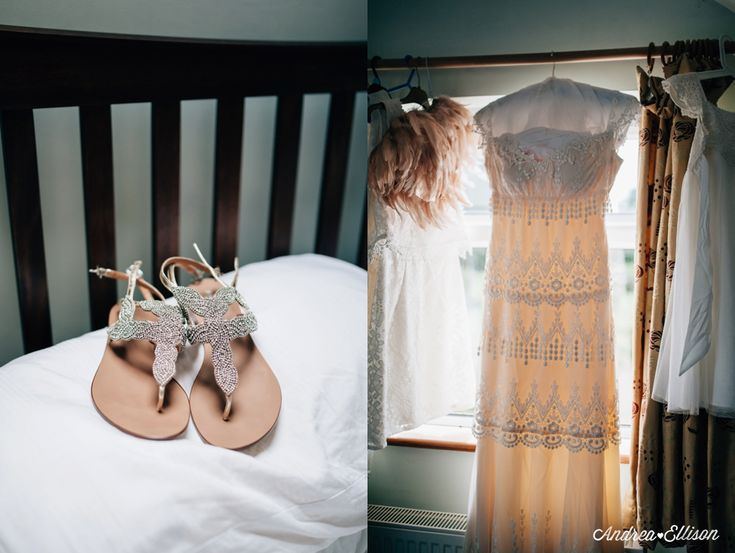 The Chilled Out Castle & Beach Wedding Jenny Packham and flip flop wedding sandles