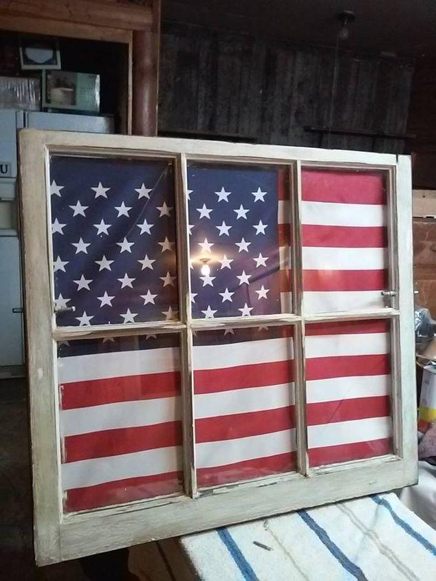 american flag and antique window, patriotic decor ideas, repurposing upcycling, seasonal holiday decor, window treatments