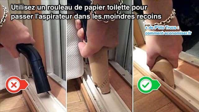Certains recoins de la maison sont vraiment difficiles à nettoyer avec un aspirateur. L'astuce est d'utiliser un rouleau de papier toilette. Regardez :-) Découvrez l'astuce ici : http://www.comment-economiser.fr/enfin-une-astuce-pour-passer-l-aspirateur-dans-les-endroits-.html?utm_content=buffer63f32&utm_medium=social&utm_source=pinterest.com&utm_campaign=buffer