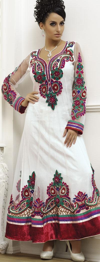 $335.89 White Full Sleeve Net Long Anarkali Salwar Kameez 18623