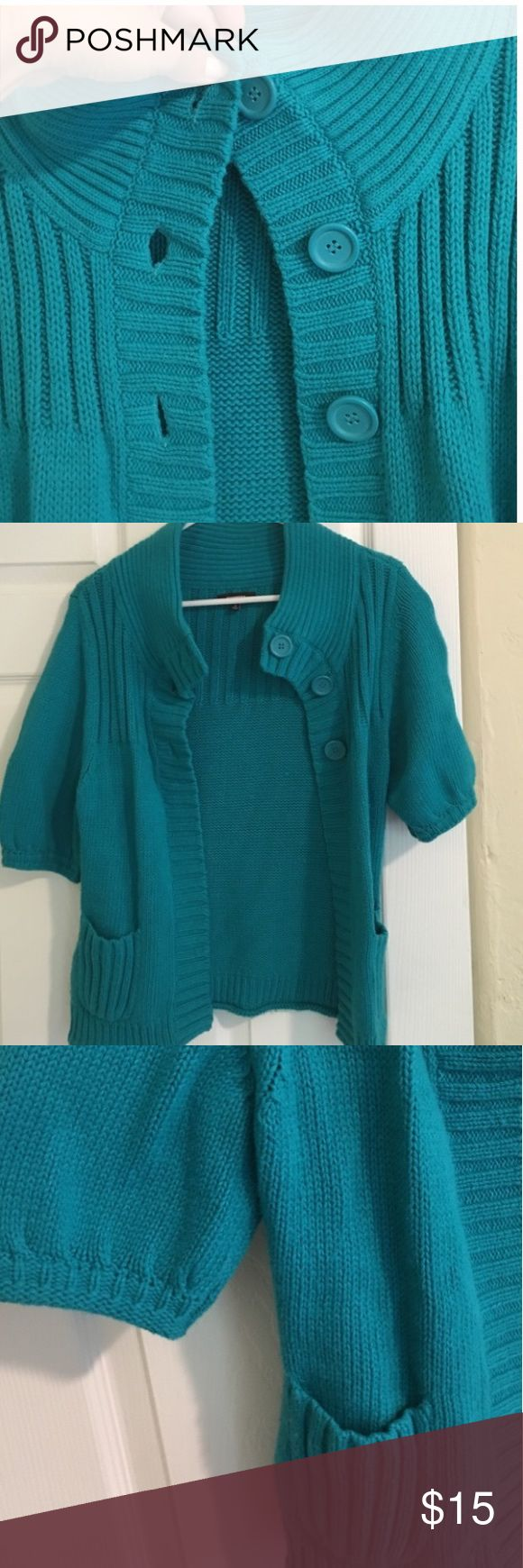 Express Teal Cardigan w/ Buttons Perfect for the fall 🍂🍁 Pair with a sweater underneath or tank top in warmer weather! Teal is bolder than pictured. Make an offer. 😊 Express Tops