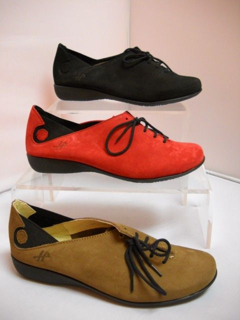 1 Hirica Laetitia - W - Hirica from France.  Gorgeous suede laceup casual shoe.  Elastic at ankle for extra flexibiltiy.  Available in Brown, Black and Red.  Sizes range 37-42.    Red/black - W