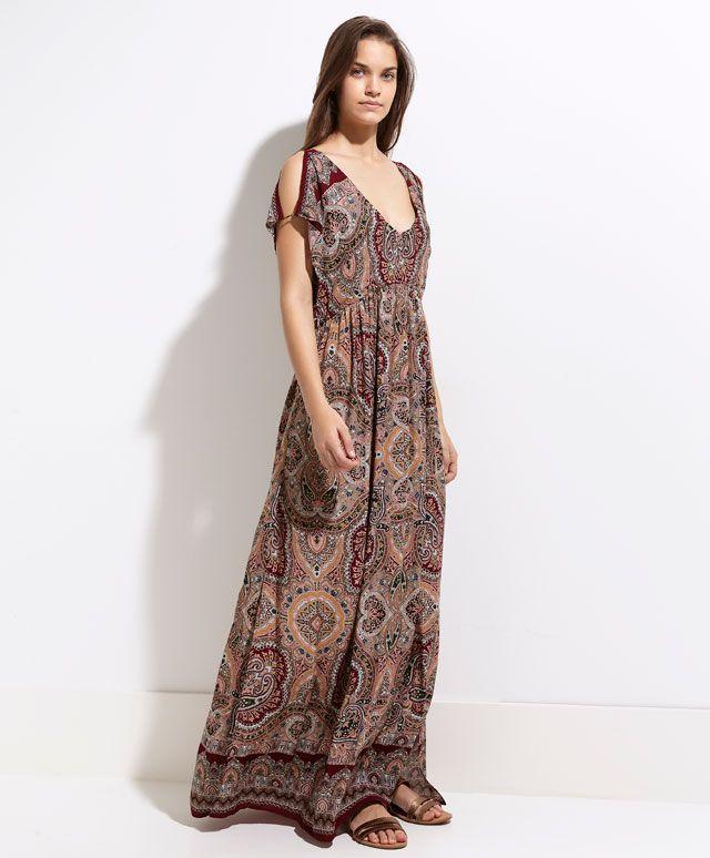 Długa sukienka ze wzorem chusty - Sukienki.