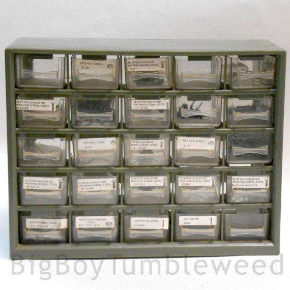 VINTAGE Hardware small parts Organizer 25 drawer bins storage #VINTAGE #Hardware small #parts #Organizer 25 #drawer #bins #storage #holder Tool Box wall mount #garage #woodworking #toolbox