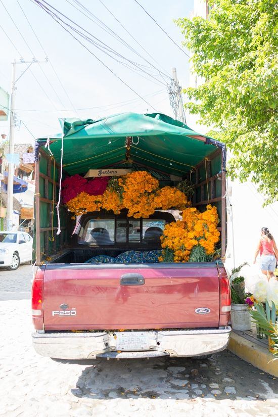 Sayulita, Mexico - pretty flowers being sold off a pickup truck