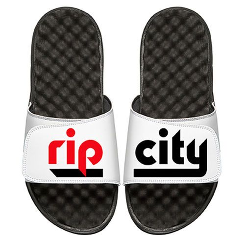 Men's Portland Trail Blazers ISlide Black/White Team Slogan Slide Sandals