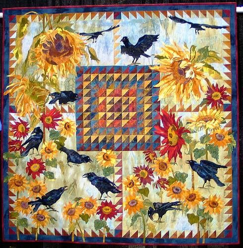"""Ravens Return"" (Terry Kramzar, 2008): Cotton: hand dyed, machine appliqued, fused, machine quilted"