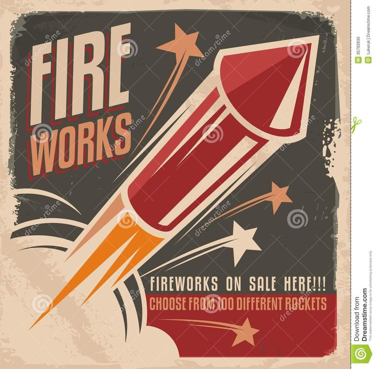 Vintage Fireworks Poster Design - Download From Over 44 Million High Quality Stock Photos, Images, Vectors. Sign up for FREE today. Image: 35793930
