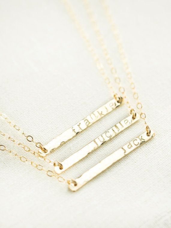 Ohana necklace - gold bar necklace, personalized