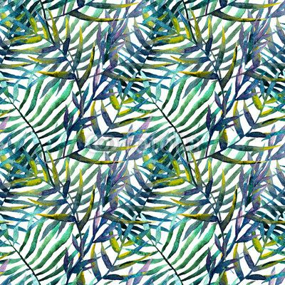 Wall mural leaves abstract pattern wallpaper watercolor - isolated • PIXERSIZE.com