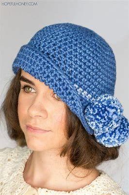 96cc8c1ac84 Bildergebnis für Free Crochet Cloche Hat Pattern with Flower ...