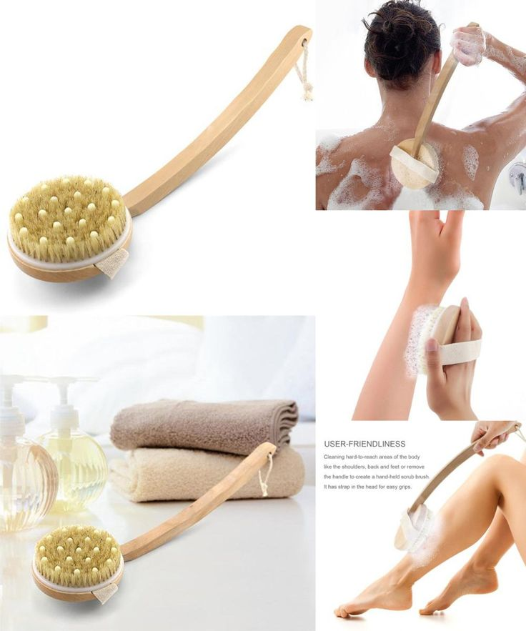 [Visit to Buy] Detachable Natural Long Wood Bristle Body Brush Massager Back Spa Scrubber wooden brush Body Brush with Bent Wooden Handle #Advertisement